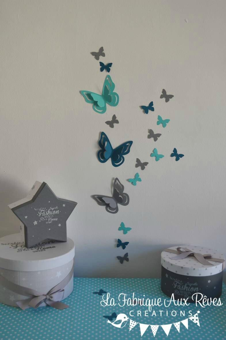 stickers papillons 3D turquoise gris bleu canard ptrole  dcoration chambre bb turquoise