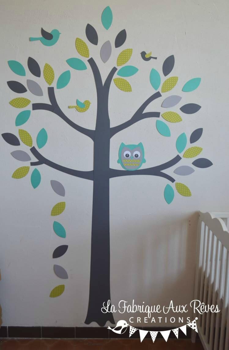 stickers arbre turquoise vert anisle gris hibou oiseaux  dcoration chambre bb garon