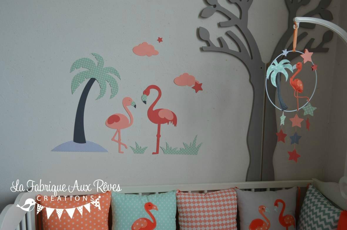 Dcoration chambre bb flamant rose palmier toiles nuages mint corail saumon gris  Gigoteuse