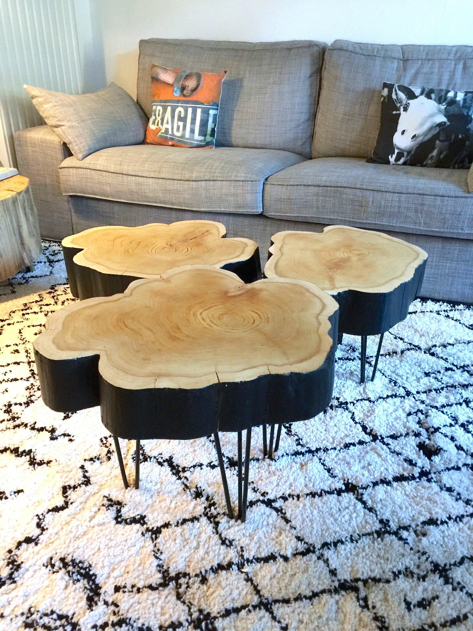 petites tables rondins sur hairpin legs