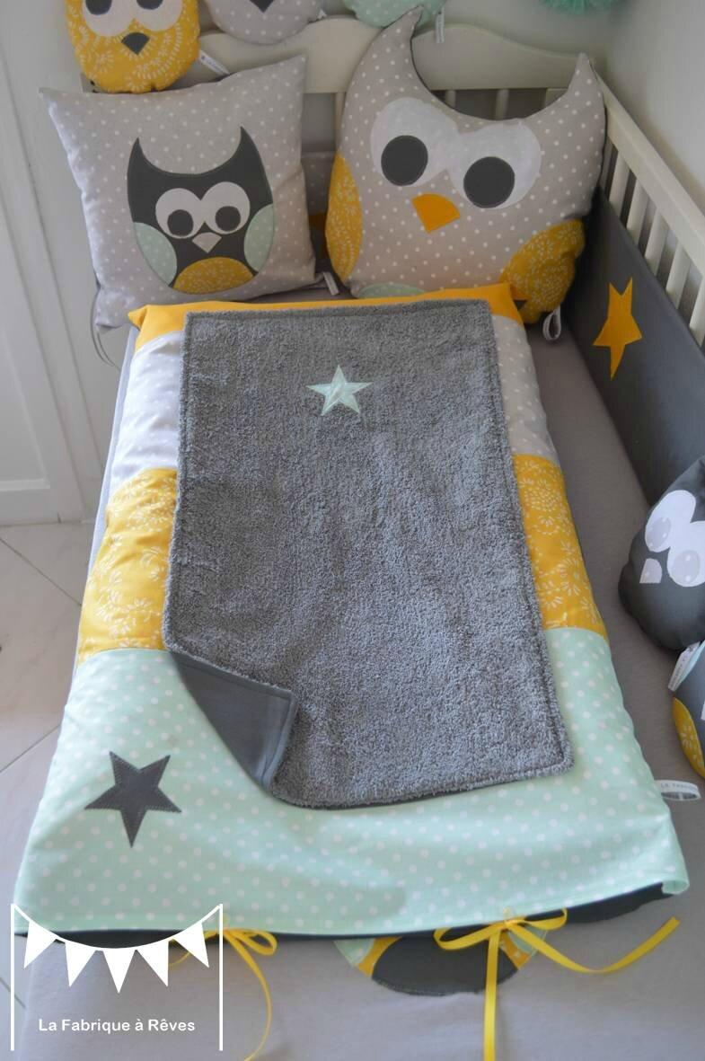 housse matelas  langer toiles jaune gris vert amande vert eau  dcoration chambre bb hibou