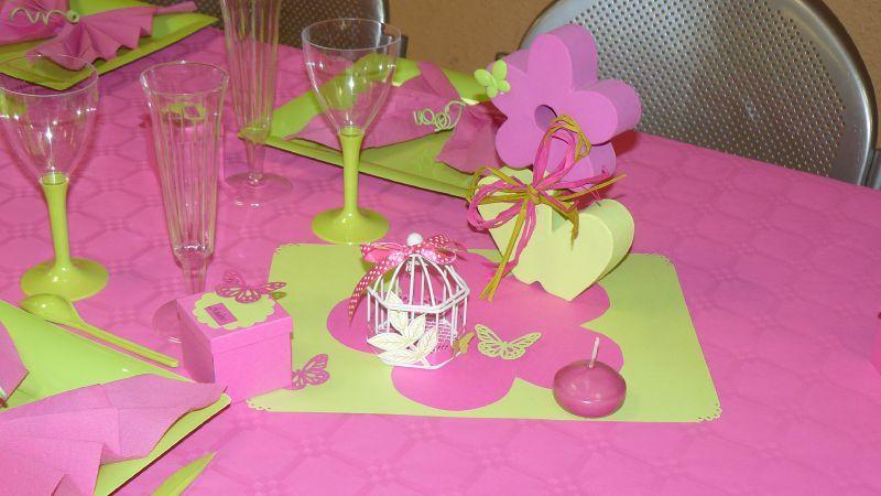 Decoration Bapteme Fille Vert Et Rose