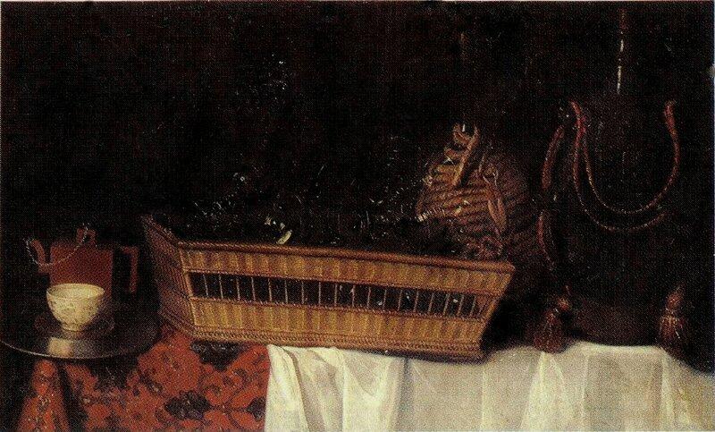 Corbeille remplies de verres et fiasques avec théière, hst 68 x 110cm