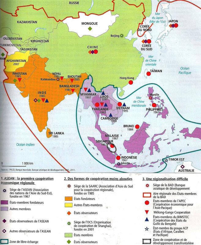 L Asie Du Sud Et De L Est : Lundi, Heures), Enseignement, Distance, Benharous,, Histoire, Géographie,, Collège, Lycée, Montaigne
