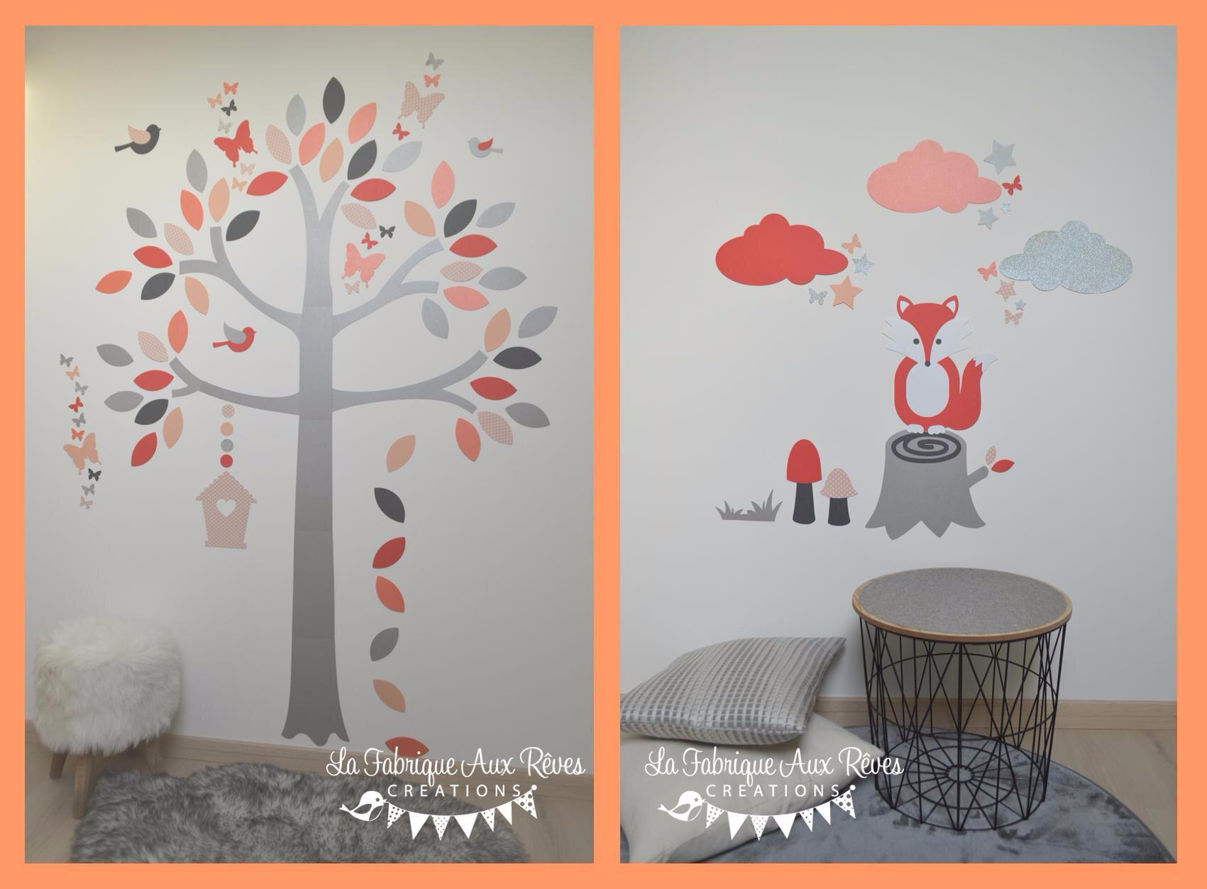 Stickers renard arbre  Corail Saumon gris argent  Dcoration chambre bb fille fort