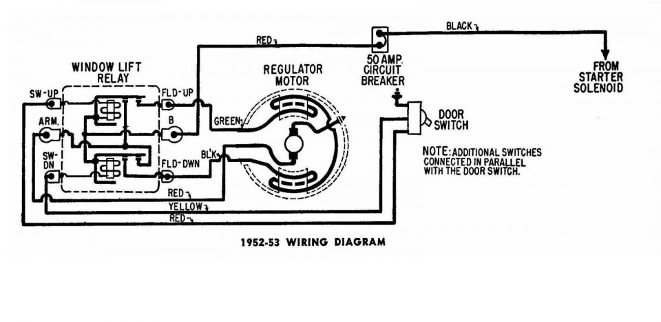 Window Regulator Wiring Diagram Chrysler 1950-53 2/2