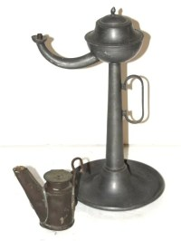 54: Pewter Whale Oil Lamp - Brass Miners Lamp : Lot 54