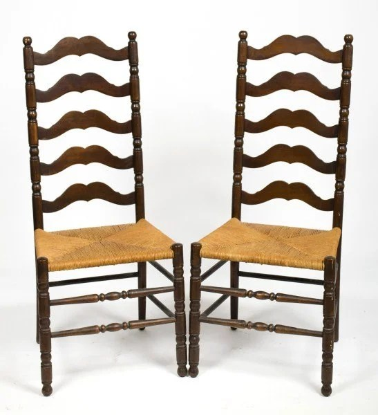 326 Antique Style Ladder Back Chairs  Lot 326