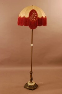 "67: 1920's style floor lamp with cloth shade 65"" t : Lot 67"