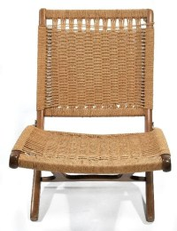 334: A Mid-Century Modern Folding Chair with Woven Rush ...