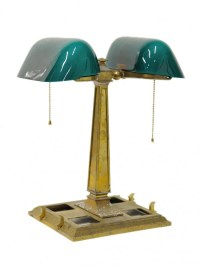 172: A VINTAGE EMERALITE DOUBLE BANKER'S LAMP, American ...