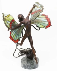 BRONZE FAIRY LAMP W/ STAINED GLASS WINGS SIGNED : Lot 40093