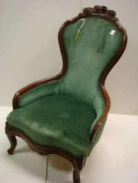 373: Green Velvet Victorian Chair with Carved Crest: : Lot 373