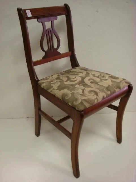 53 Six Mahogany Lyre Back Dining Chairs  Lot 53