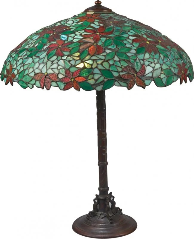Antique Handel Table Lamp w/ Leaded Stained Glass Shade