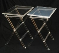 MID CENTURY MODERN LUCITE FOLDING TV TRAY TABLES : Lot 278