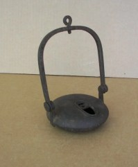 24: Antique Iron Betty Oil Lamp : Lot 24
