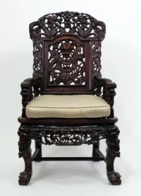 68: Chinese Carved Throne Chair : Lot 68