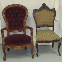 Victorian Side Chair & Victorian Red Velvet Arm Chair : Lot 26