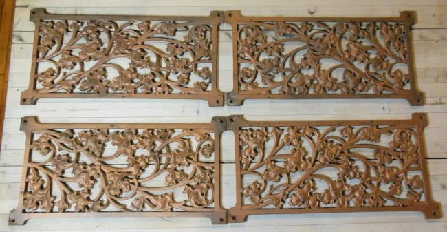 Lot of 4 Decorative Wrought Iron Wall Panels : Lot 1508