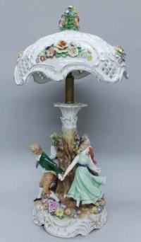 DRESDEN PORCELAIN LAMP : Lot 373