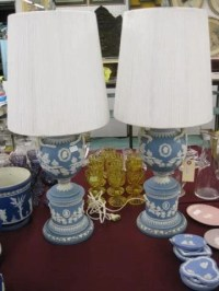 1046: Pair of Wedgwood Blue Jasperware Lamps, : Lot 1046