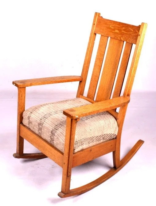 Antique Mission Style Rocking Chair This lot featu  Lot 24
