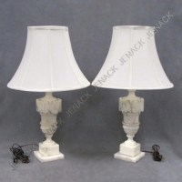 159: PAIR VINTAGE MARBLE TABLE LAMPS : Lot 159