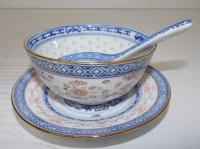 SET OF 6 VINTAGE CHINESE PORCELAIN SOUP BOWLS & SPOONS ...