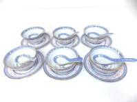 SET OF 6 VINTAGE CHINESE PORCELAIN SOUP BOWLS & SPOONS
