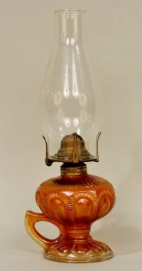 Carnival Glass Oil Lamp.