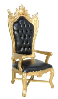 A BLACK TUFTED CROWN STATEMENT THRONE CHAIR : Lot 106