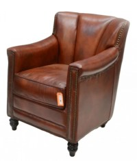 """50: COGNAC COLOR """"GIBSON"""" LEATHER CLUB CHAIR : Lot 50"""
