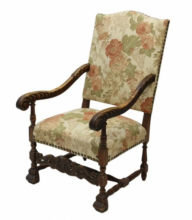 FRENCH LOUIS XIV STYLE HIGHBACK ARM CHAIR  Lot 401
