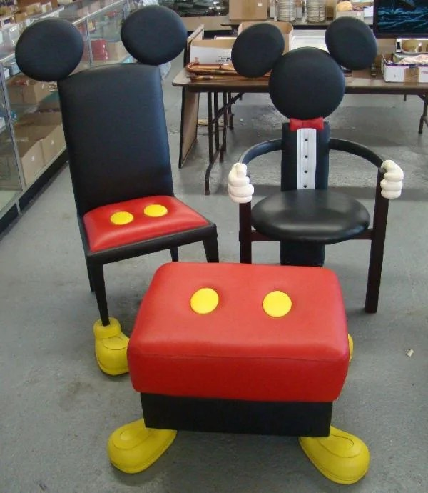 1710G DISNEY MICKEY MOUSE CHAIRS  OTTOMAN  Lot 1710G
