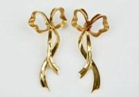 18k Gold Tiffany Bow Earrings : Lot 122