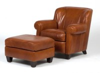 A Bernhardt leather club chair and ottoman : Lot 240