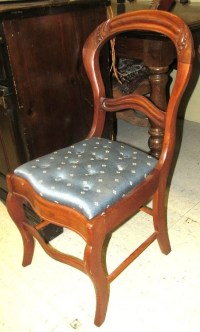 Victorian Carved Tufted Seat Armless Chair, Excellent ...