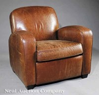 0601: Art Deco-Style Leather Reclining Club Chair : Lot 601