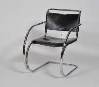 4: Mid century bent chrome and leather arm chair : Lot 4