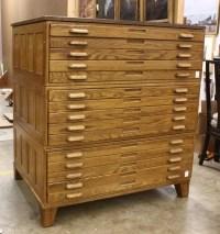 186: Architect's oak flat file cabinet : Lot 186