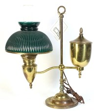 Brass student lamp with hunter green fan shade, mid to