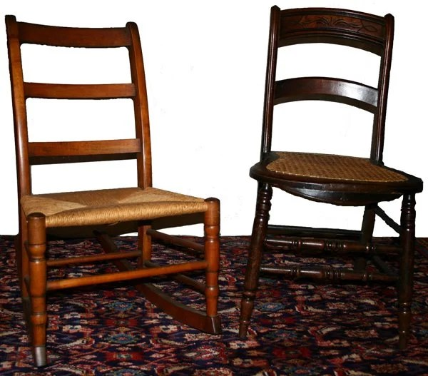 050504 ANTIQUE ARMLESS ROCKING CHAIR  SIDE CHAIR  Lot 50504