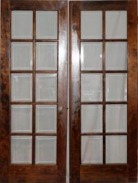 010221: WALNUT & BEVELED GLASS FRENCH DOORS, C. 1920 : Lot ...