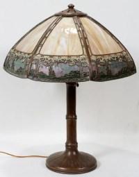 011480: SLAG GLASS SHADE ON A HANDEL LAMP BASE, : Lot 11480