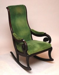 337E: Victorian green velvet rocking chair with curving ...