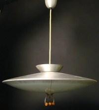 339: 1950s brushed aluminum pull down light fixture, 9 ...