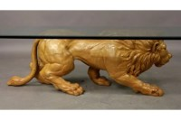 395: Carved wood lion coffee table : Lot 395