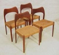 421: Set 4 Danish Modern Solid Teak Dining Chairs. Bow ...