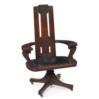 98: Charles Rohlfs desk chair, tall back : Lot 98